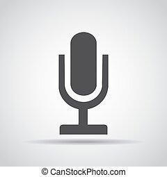 grijs, microfoon, illustratie, achtergrond., vector, schaduw, pictogram