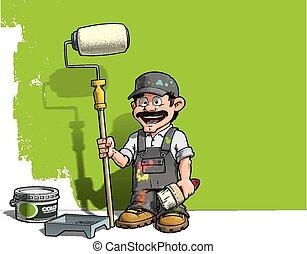grijs, muur, handyman, -, uniform, schilder