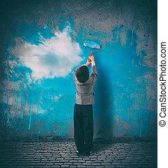 grijs, muur, verven, hemel, kind, perspective., jouw, verbeteren