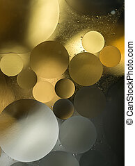 grijs, olie, -abstract, helling, goud, water, achtergrond, druppels