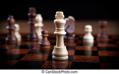 grijs, op, stukken, schaakspel, lined, roeien