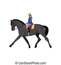 grijs, paarde, horsewoman, tegen, vrijstaand, achtergrond, paardrijden, witte
