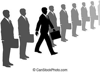 grijs, pakken, initiatief, stappen, lijn, uit, man