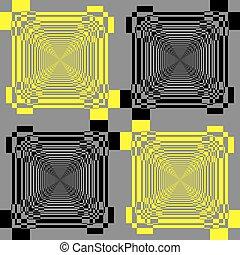 grijs, piramide, veelvoudig, abstract, gele, black , perspectief, achtergrond, oneindig, trap