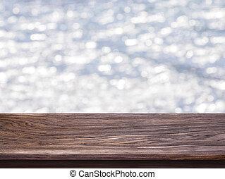 grijs, product, opmaak, montage, licht, bovenzijde, bokeh, display, achtergrond., visueel, hout, ontwerp, klee, tafel, of