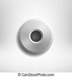 grijs, realistisch, vrijstaand, achtergrond., vector, ontwerp, klinknagel, element.