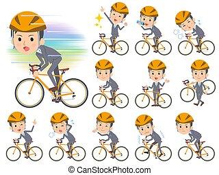 grijs, rijden, zakenman, fiets, kostuum