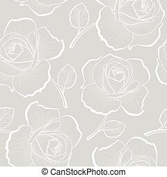 grijs, schets, model, seamless, rozen, witte