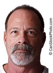 grijs, scruffy, ouder, recht, baard mustache, man