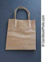 grijs, shoppen , gerecyclde, zak, papier, achtergrond