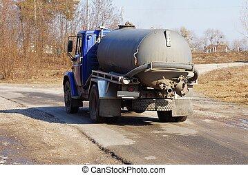 grijs, slang, asfalt, grote vrachtwagen, gaat, vat, straat