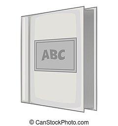 grijs, stijl, alfabet, boek, pictogram, monochroom