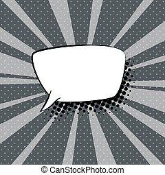 grijs, toespraak, retro, achtergrond, bel