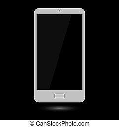 grijs, touchscreen, smartphone