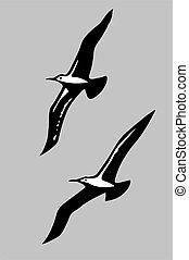 grijs, vector, silhouette, vliegen, illustratie, achtergrond, vogels