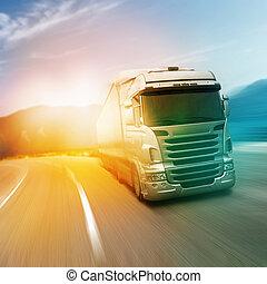 grijs, vrachtwagen, snelweg