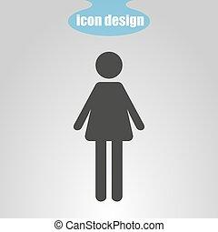 grijs, vrouw, illustratie, achtergrond., vector, pictogram