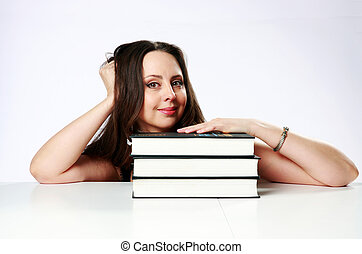 grijs, vrouw zitten, op, boekjes , achtergrond, tafel, vrolijke