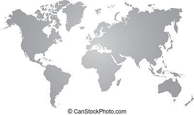 grijs, wereldkaart, op wit, achtergrond