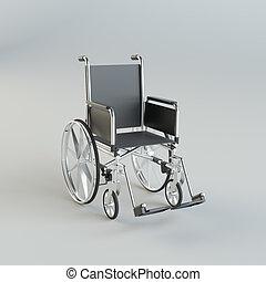 grijs, wheelchair, studio, achtergrond