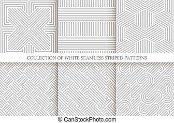 grijs, wicker, patterns., seamless, verzameling, repeatable, textuur, gestreepte , witte