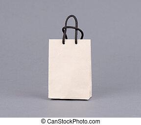 grijs, winkeltas, papier, papier, gerecyclde, ambacht, achtergrond., lege