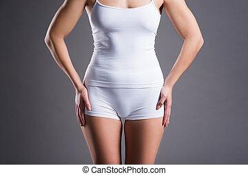 grijs, witte achtergrond, studio, ondergoed, vrouw, slank