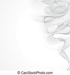 grijs, witte , vector, achtergrond, rook