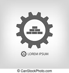 grijze , bouwsector, logo, wih, rust wiel uit, en, bakstenen