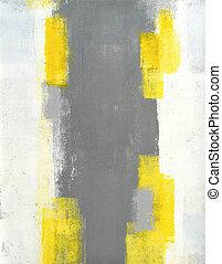 grijze , en, gele, abstracte kunst, schilderij