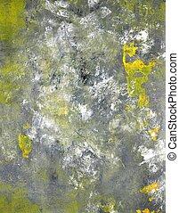 grijze , en, gele, kunst, schilderij