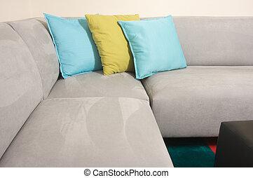grijze , sofa, suede, hoofdkussens, &