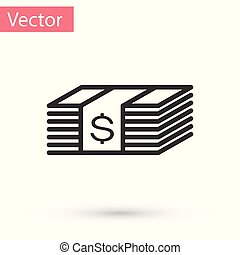 grijze , stapel, geld, dollars, rekening, dollar, vrijstaand, illustratie, contant, bankpapier, achtergrond., amerikaan, vector, papier, currency., icon., witte , pictogram