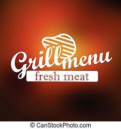 gril, étiquette, lineart, menu, vecteur, concept, design.