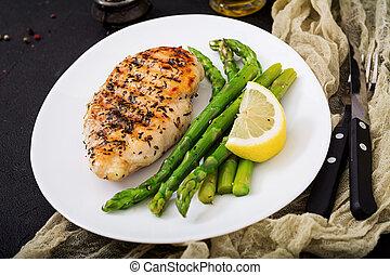 gril, asperge, filet, cuit, poulet, garnir