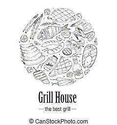 gril, bannière, barbecue