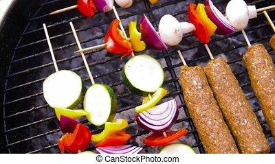 gril, barbecue, légumes, chiche-kebab, viande