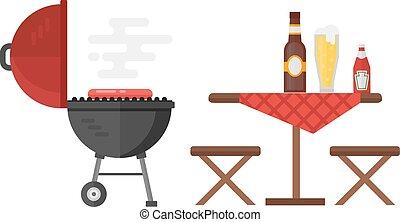 gril, barbecue, vecteur, bouilloire, illustration.