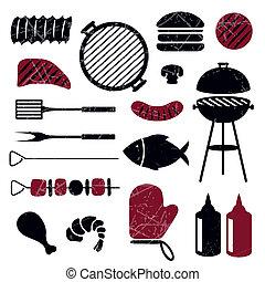 gril, barbecue, vecteur, icônes