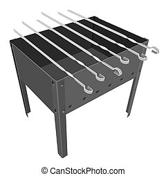 gril, blanc, barbecue, arrière-plan.