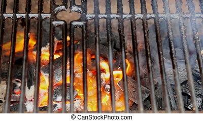 gril, charbon de bois, chaud, clair, flamme, barbecue, vide