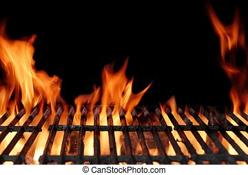 gril, charbon de bois, flamboyant, chaud, barbecue, vide