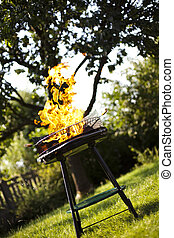 gril, chaud, brûlé, flamme