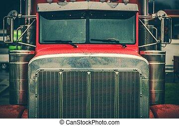 gril, closeup, camion, semi