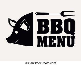 gril, conception, barbecue, menu