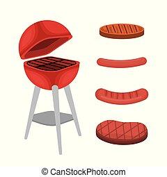 gril, délicieux, barbecue, four