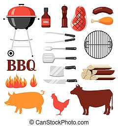 gril, ensemble, barbecue, objets, icônes