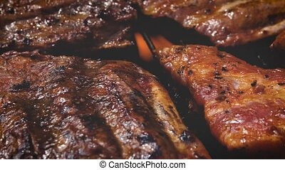 gril, extérieur, été, côtes, cuisine, savoureux, barbecue, fête