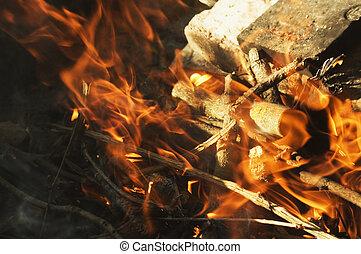 gril, flamme, chaud, brûlé, gril