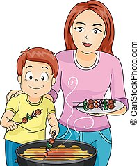 gril, gosse, famille, maman, barbecue